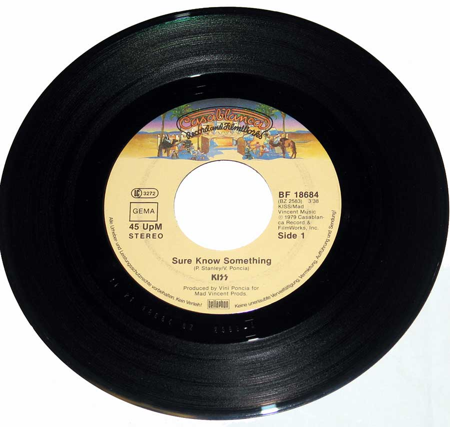 "KISS - Sure You Know Something / Dirty Livin' 7"" Single   enlarged record label"