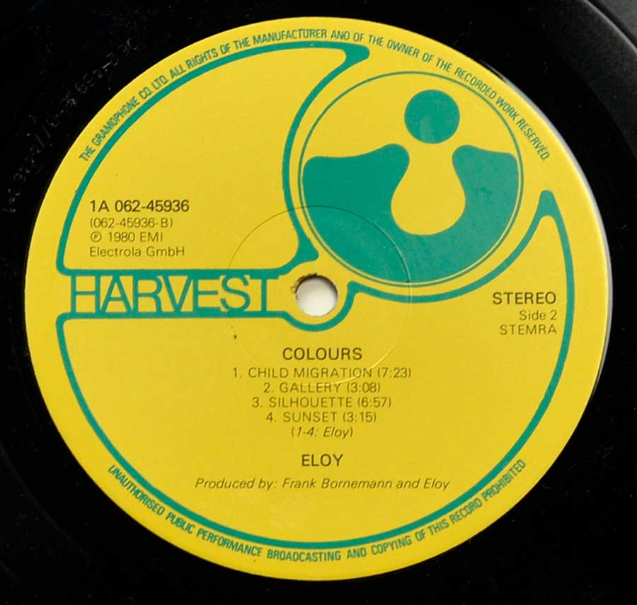 Close up of record's label ELOY - Colours ( Gatefold, Netherlands ) Side Two