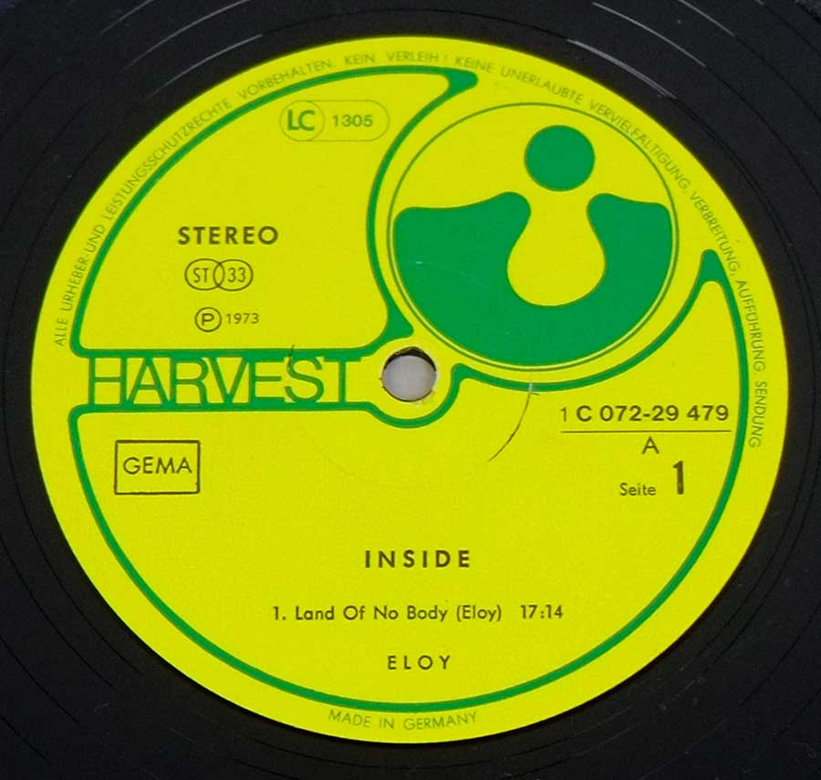 """Inside"" Yellow colour with Green Lettering HARVESt Record Label Details: 1C 072-29 479 , Made in Germany"