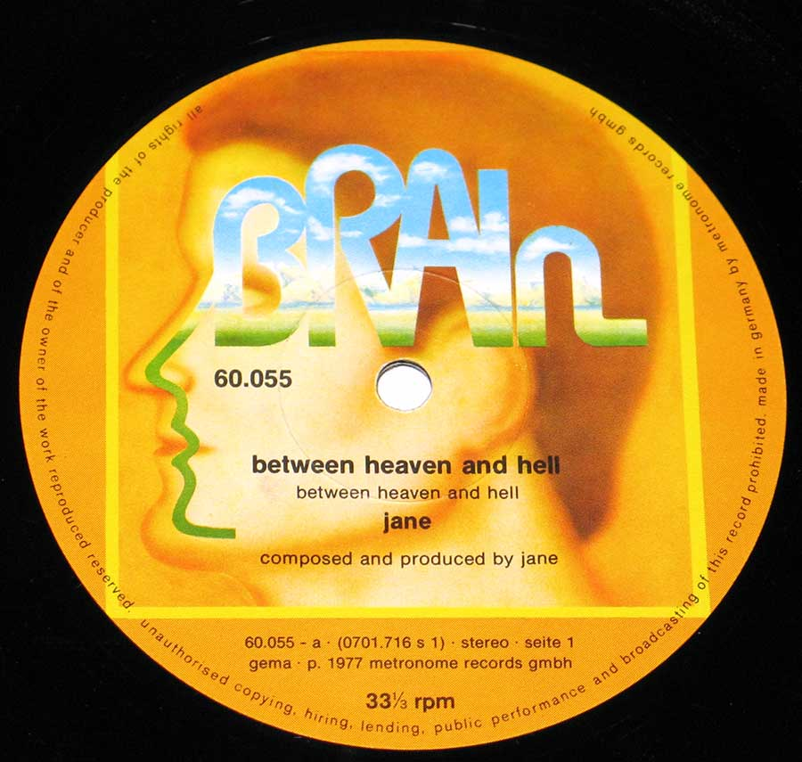 Large Hires Photo Close-up of the Brain record label Between Heaven And Hell