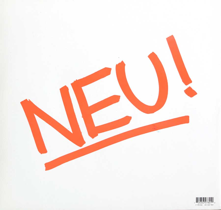 Photo of album back cover NEU! 1st Album White Vinyl Gatefold
