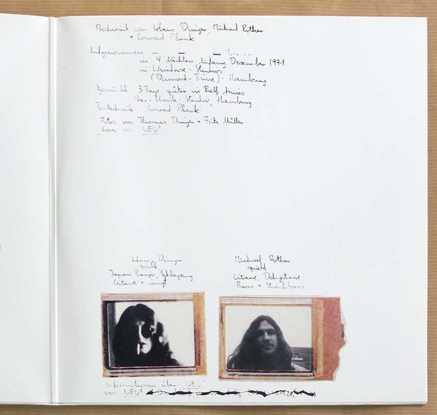 Photo of the right page inside cover NEU! 1st Album White Vinyl Gatefold