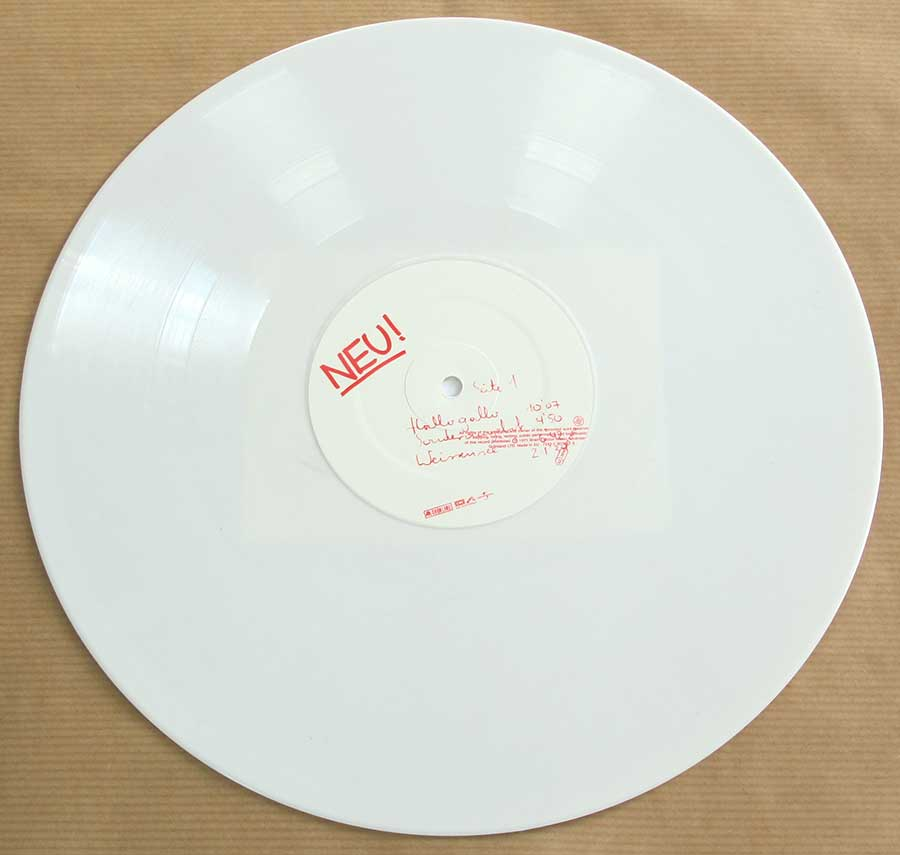 Photo of Side One of NEU! 1st Album White Vinyl Gatefold