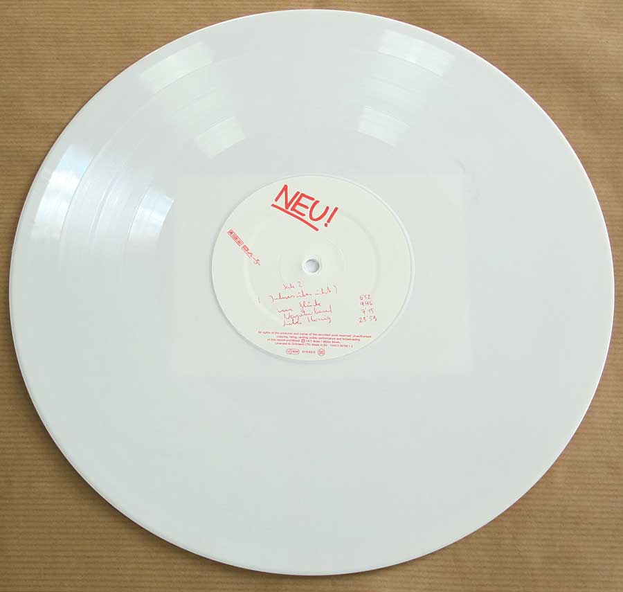 Photo of Side Two of NEU! 1st Album White Vinyl Gatefold