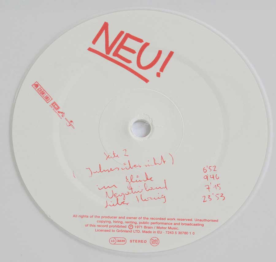 Close up of record's label NEU! 1st Album White Vinyl Gatefold Side Two