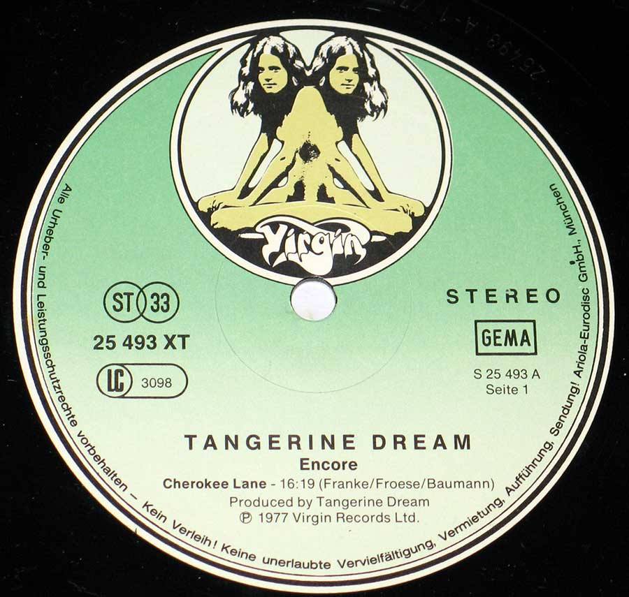 "Close up of record's label TANGERINE DREAM - Encore German Release 12"" vinyl 2LP Side One"