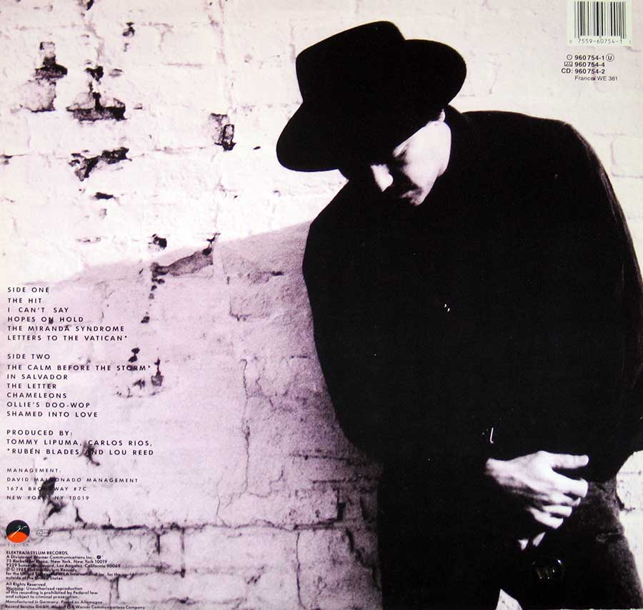 "RUBEN BLADES - Nothing but the Truth with Lou Reed 12"" VInyl LP  album back cover"