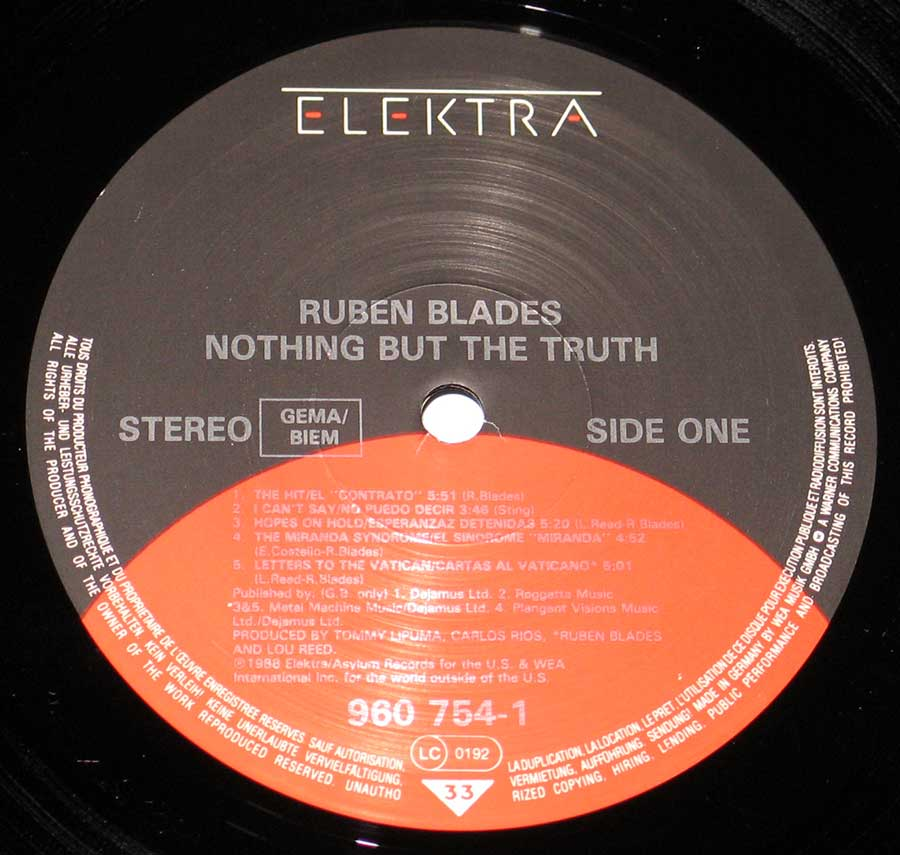 "RUBEN BLADES - Nothing but the Truth with Lou Reed 12"" VInyl LP enlarged record label"