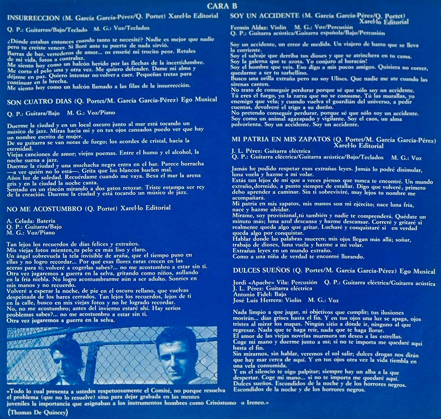 Photo Two of the original custom inner sleeve  ULTIMO DE LA FILA – Nuevas Mezclas