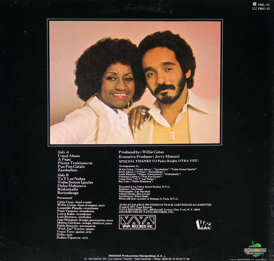 "CELIA CRUZ & WILLIE COLON - Only They Could Have Made This Album Manzana Records 12"" Vinyl LP Album back cover"