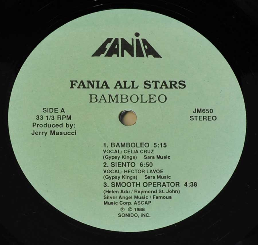Photo of record label of FANIA ALL STARS - Bamboleo ( USA Release )