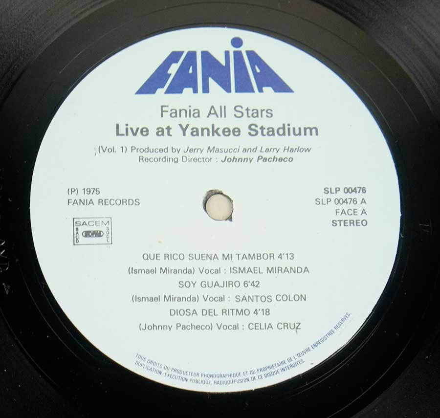 Photo of record label of FANIA ALL STARS - Live At Yankee Stadium Vol. 1