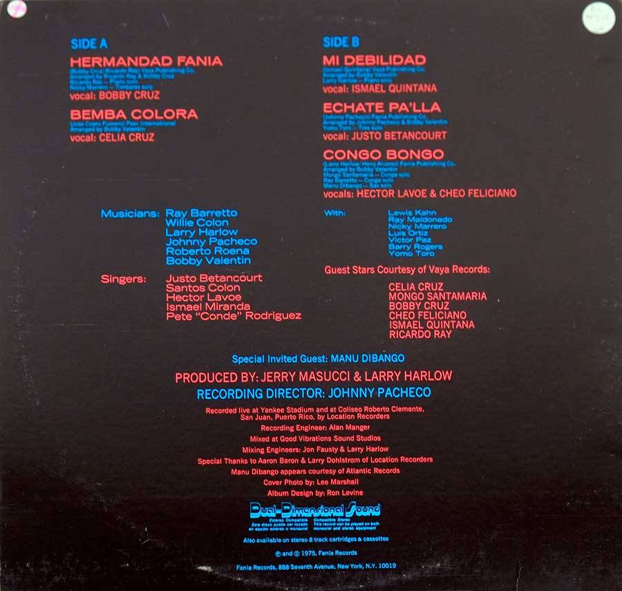 Photo of album back cover FANIA ALL STARS - Live At Yankee Stadium Vol. 2 ( with Manu Dibango )