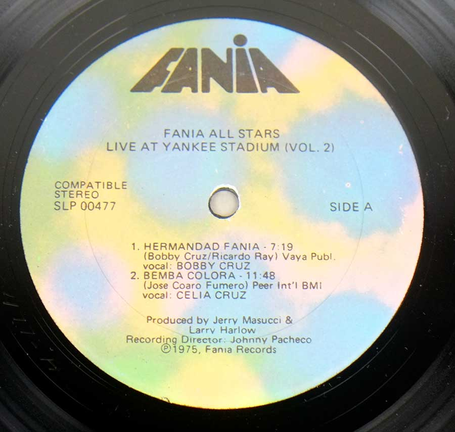 Photo of record label of FANIA ALL STARS - Live At Yankee Stadium Vol. 2 ( with Manu Dibango )