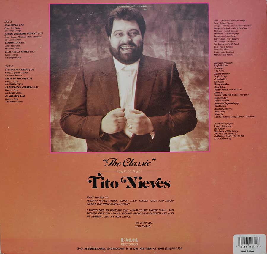 Photo of album back cover TITO NIEVES - The Classic Tito Nieves