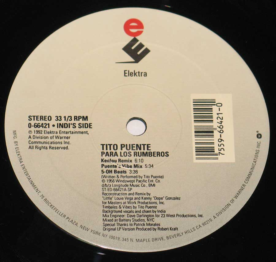 """The Mambo Kings"" Record Label Details: Elektra 0-66421 ℗ 1992 Elektra Entertainment Sound Copyright"