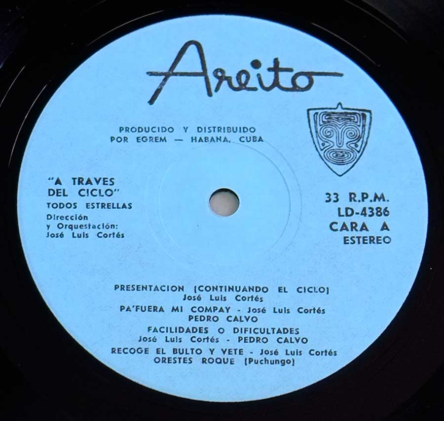 "Close up of record's label TODOS ESTRELLAS - A Traves Del Ciclo 12"" LP VINYL ALBUM Side One"