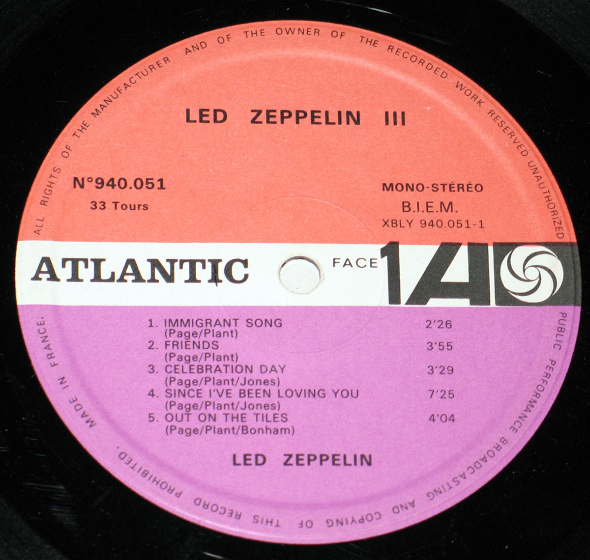 High Resolution Photo #5 LED ZEPPELIN III France Spinning Wheel