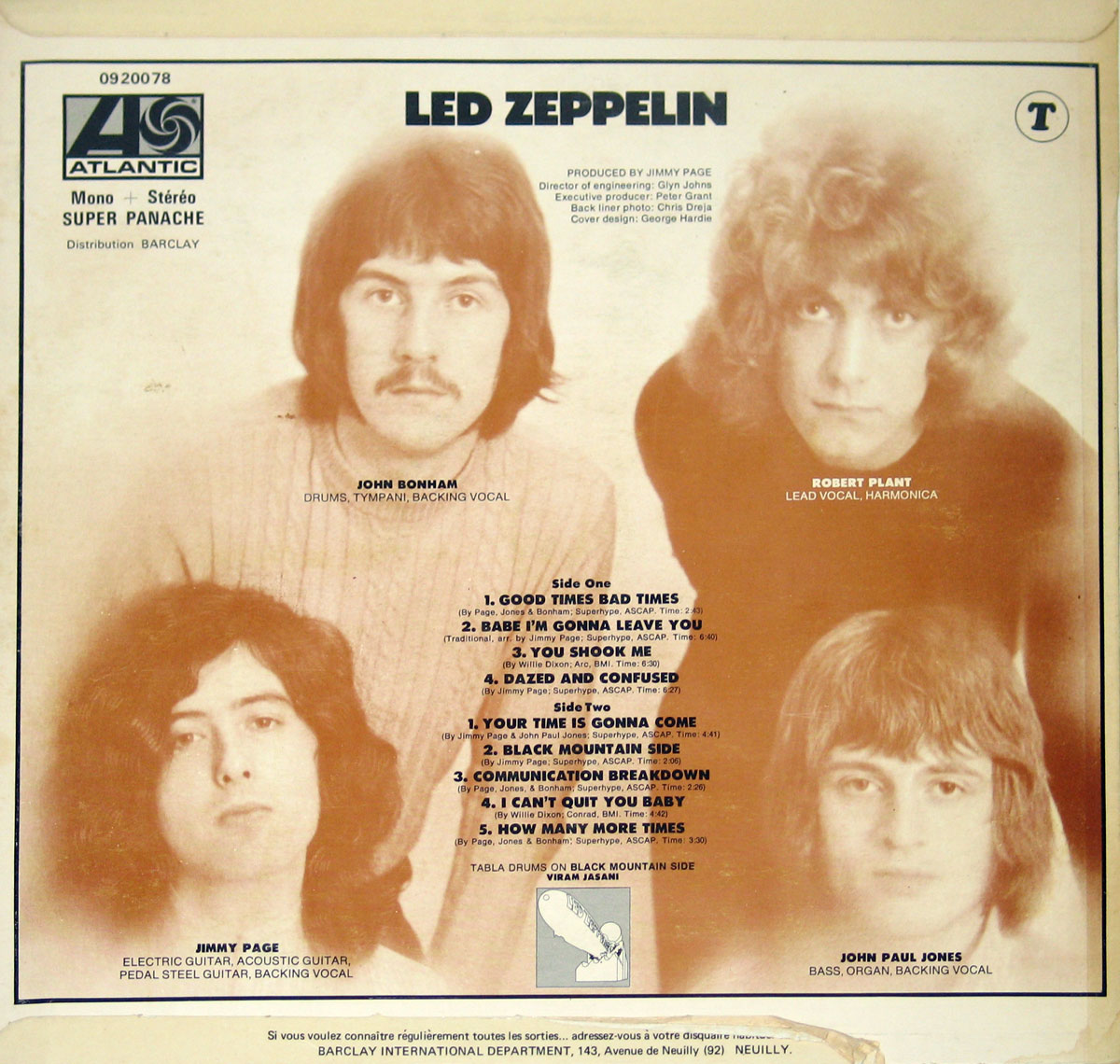 High Resolution Photo of Led Zeppelin 1st Issue  Self-Titled FRANCE