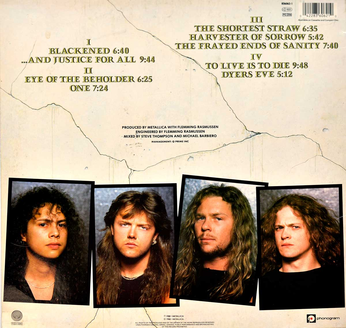 "Album Back Cover  Photo of ""METALLICA And Justice For All"""