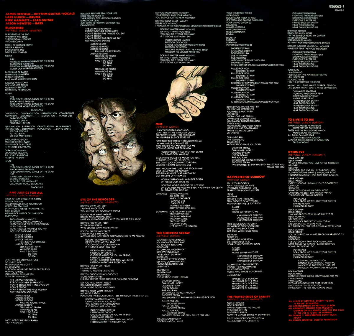 "Inner Sleeve   of ""METALLICA And Justice For All"" Album"