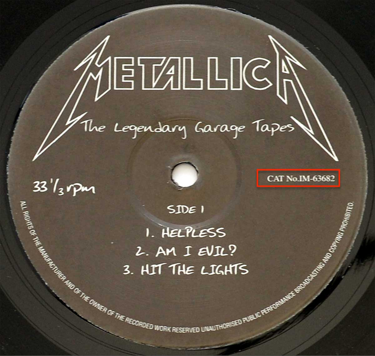 Photo of record 1 of METALLICA - The legendary Garage Tapes ( Unofficial Record )
