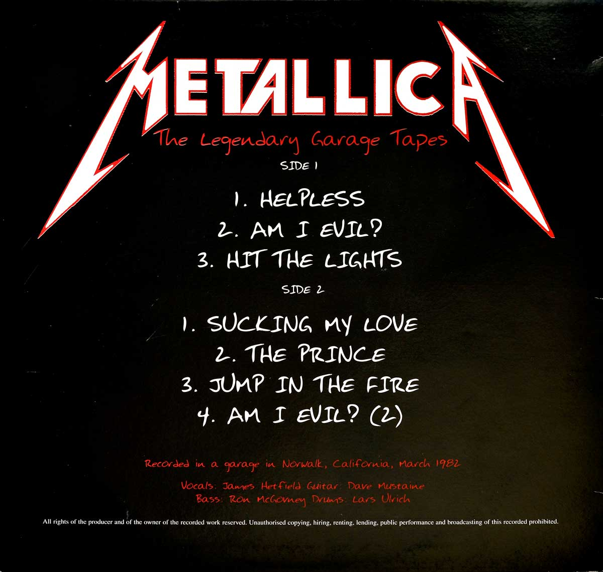 Photo of album back cover METALLICA - The legendary Garage Tapes ( Unofficial Record )
