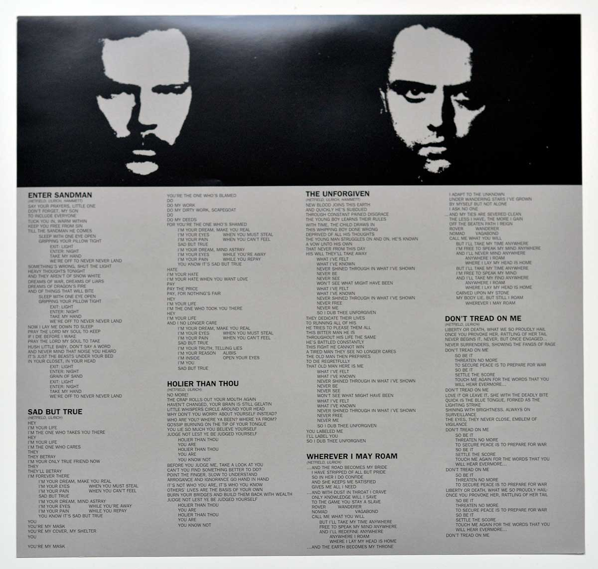 Photo of album back cover METALLICA The Black Album 2LP 180 Grams Audiophile Blackened Records