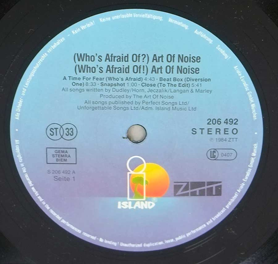 "Photo of Light Blue Recorde Label of: ""Who's Afraid of the Art of Noise"""