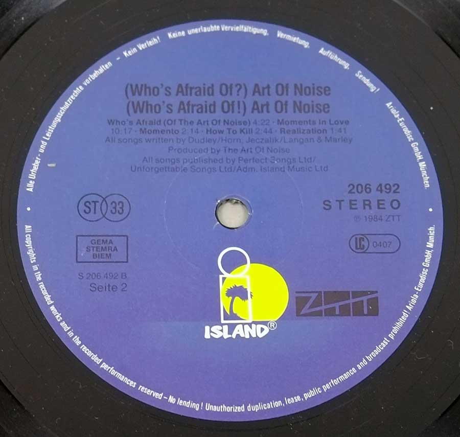 "Photo of Dark Blue Record Label of: ""Who's Afraid of the Art of Noise"""