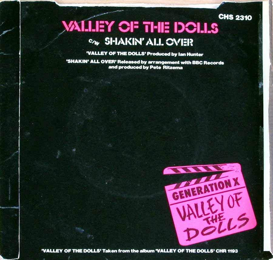 "GENERATION X - Valley Of The Dolls / Shakin' All Over Coloured Vinyl Billy Idol 7"" 45RPM PS Single Vinyl back cover"