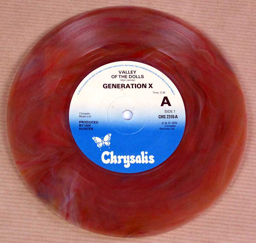 "GENERATION X - Valley Of The Dolls / Shakin' All Over Coloured Vinyl Billy Idol 7"" 45RPM PS Single Vinyl Vinyl Single record"