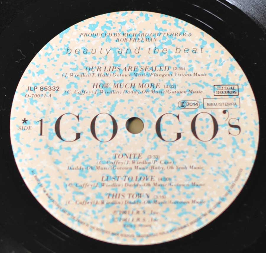 "GO-GO's - Beauty and the Beat 12"" LP VINYL ALBUM enlarged record label"