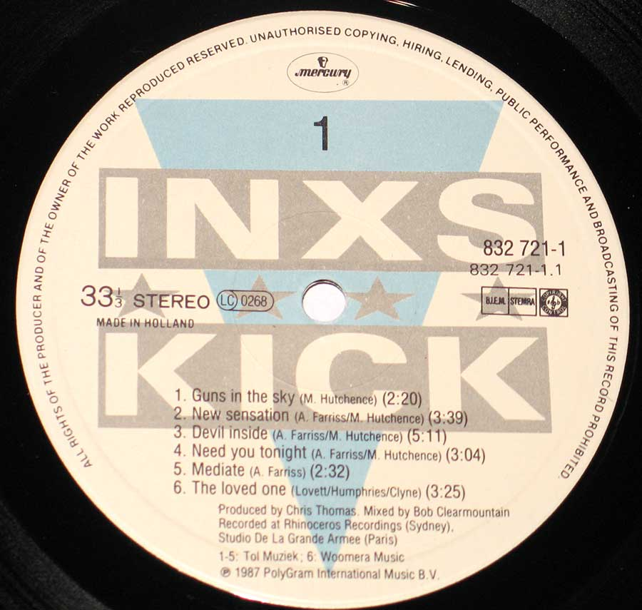 "Close up of Side One record's label INXS - Kick 1980s Pop / New Wave 12"" VINYL LP ALBUM"