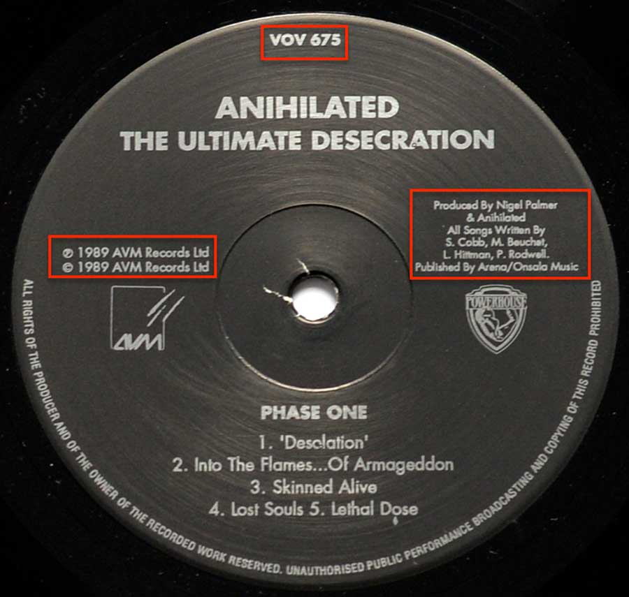"Close-Up Photo Record Label ""ANIHILATED The Ultimate Desecration """