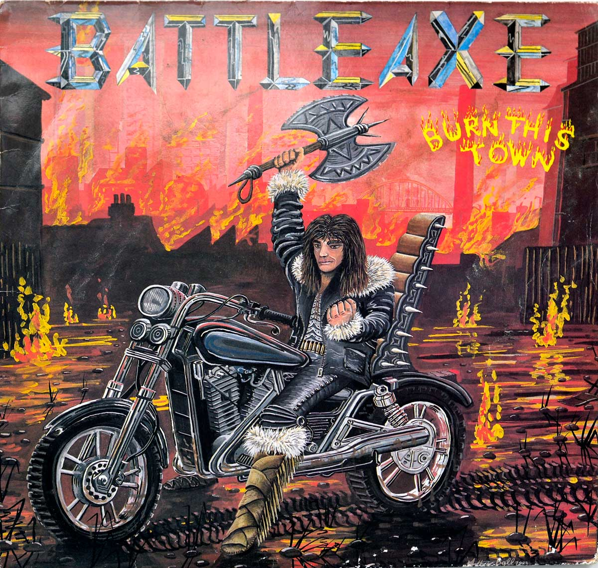 large photo of the album front cover of: BATTLE-AXE BATTLEAXE Burn This Town