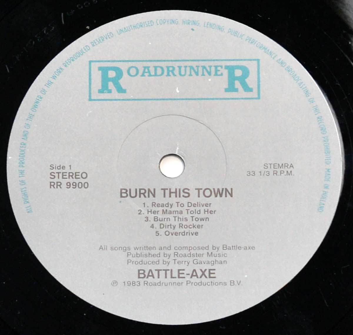Enlarged High Resolution Photo of the Record's label BATTLEAXE Burn This Town https://vinyl-records.nl