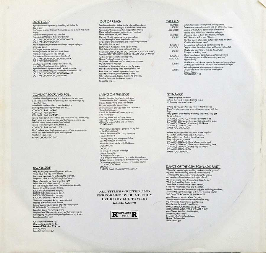 High Resolution Photo  of the  Original Custom Inner Sleeve (OIS) #2 of BLIND FURY - Out of Reach https://vinyl-records.nl