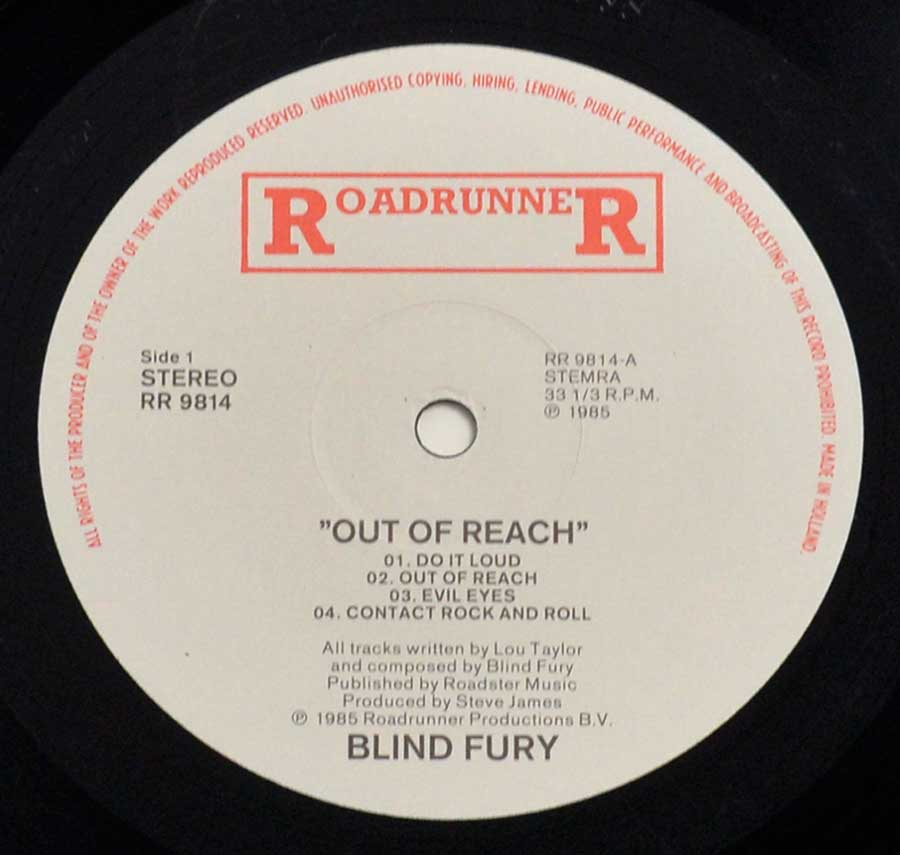 Enlarged High Resolution Photo of the Record's label BLIND FURY - Out of Reach https://vinyl-records.nl