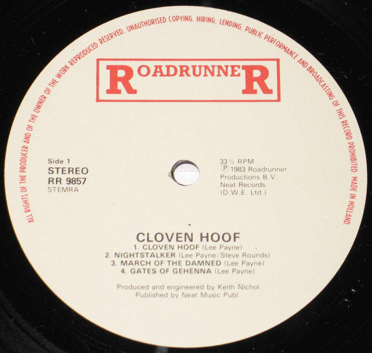 Enlarged High Resolution Photo of the Record's label CLOVEN HOOF Self-Titled https://vinyl-records.nl
