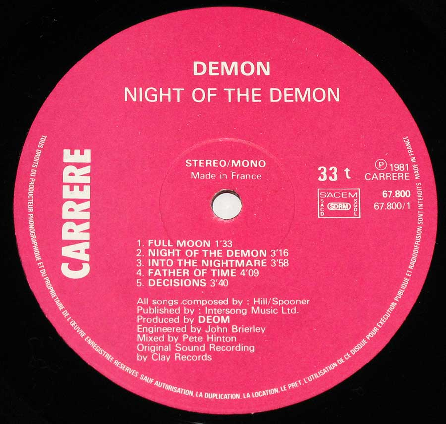 """Night Of The Demon"" Pink Colour Carrere Record Label Details: CARRERE 67 899, Made in France, SACEM, SDRM, ℗ 1981 Carrere Sound Copyright"