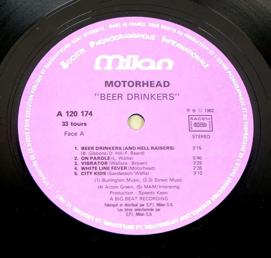 Close up of Side One MOTORHEAD - Beer Drinkers - British Heavy Metal