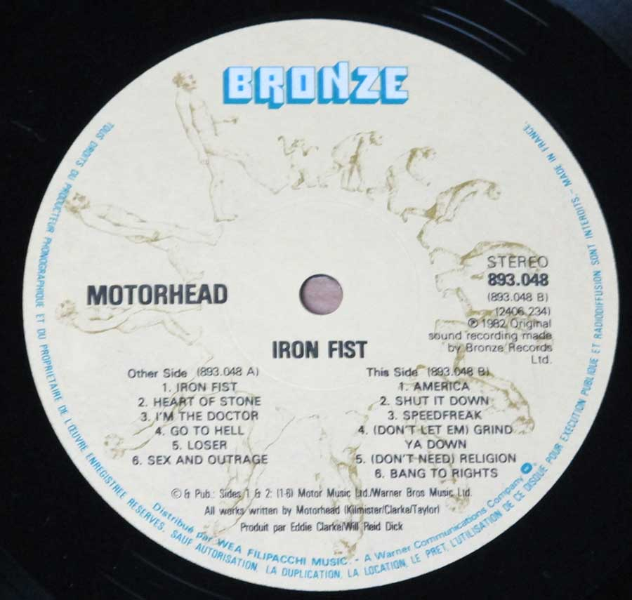 Close up of Side Two  MOTORHEAD - Iron Fist ( British Heavy Metal )