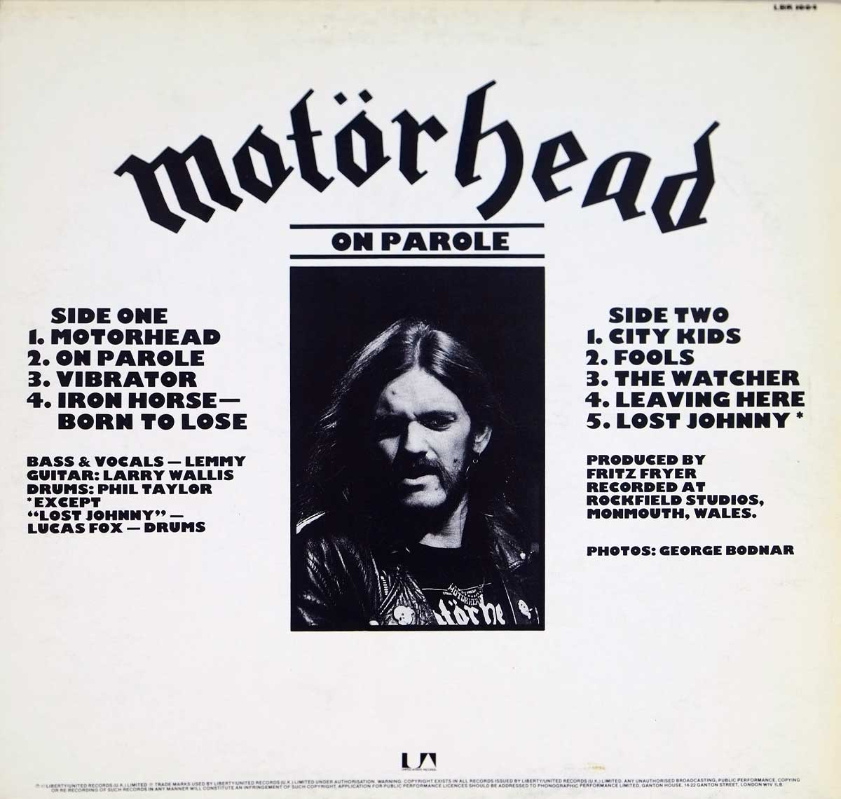 Photo of album back cover MOTORHEAD - On Parole ( British Heavy Metal )