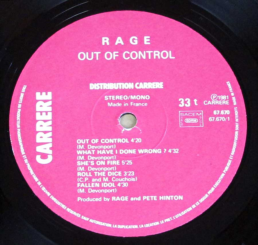 Close up of record's label RAGE - Out of Control Side One