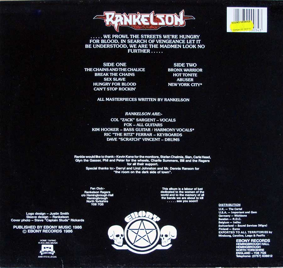 Photo of album back cover RANKELSON - Hungry For Blood
