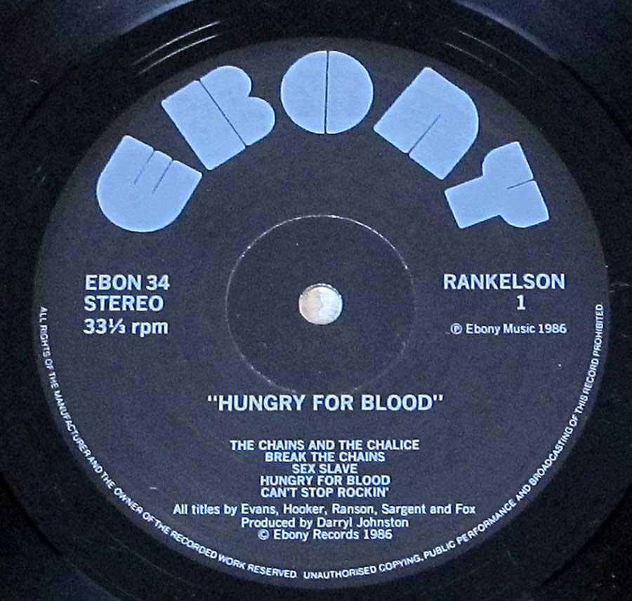 Close up of record's label RANKELSON - Hungry For Blood Side One