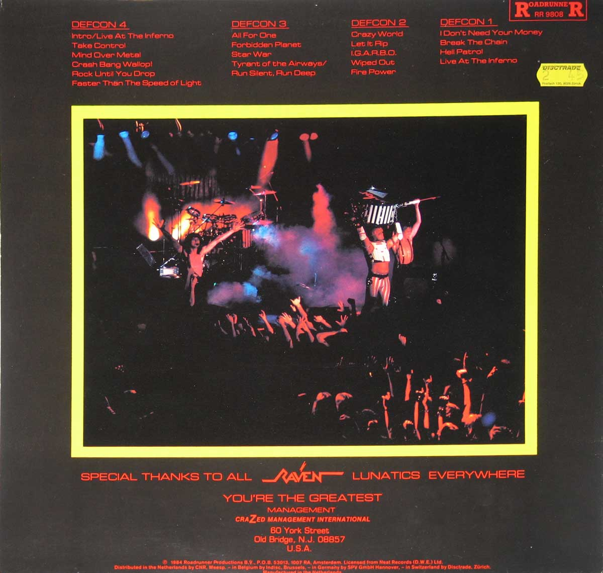 High Resolution Photo Album Back Cover of RAVEN - Live at the Inferno https://vinyl-records.nl