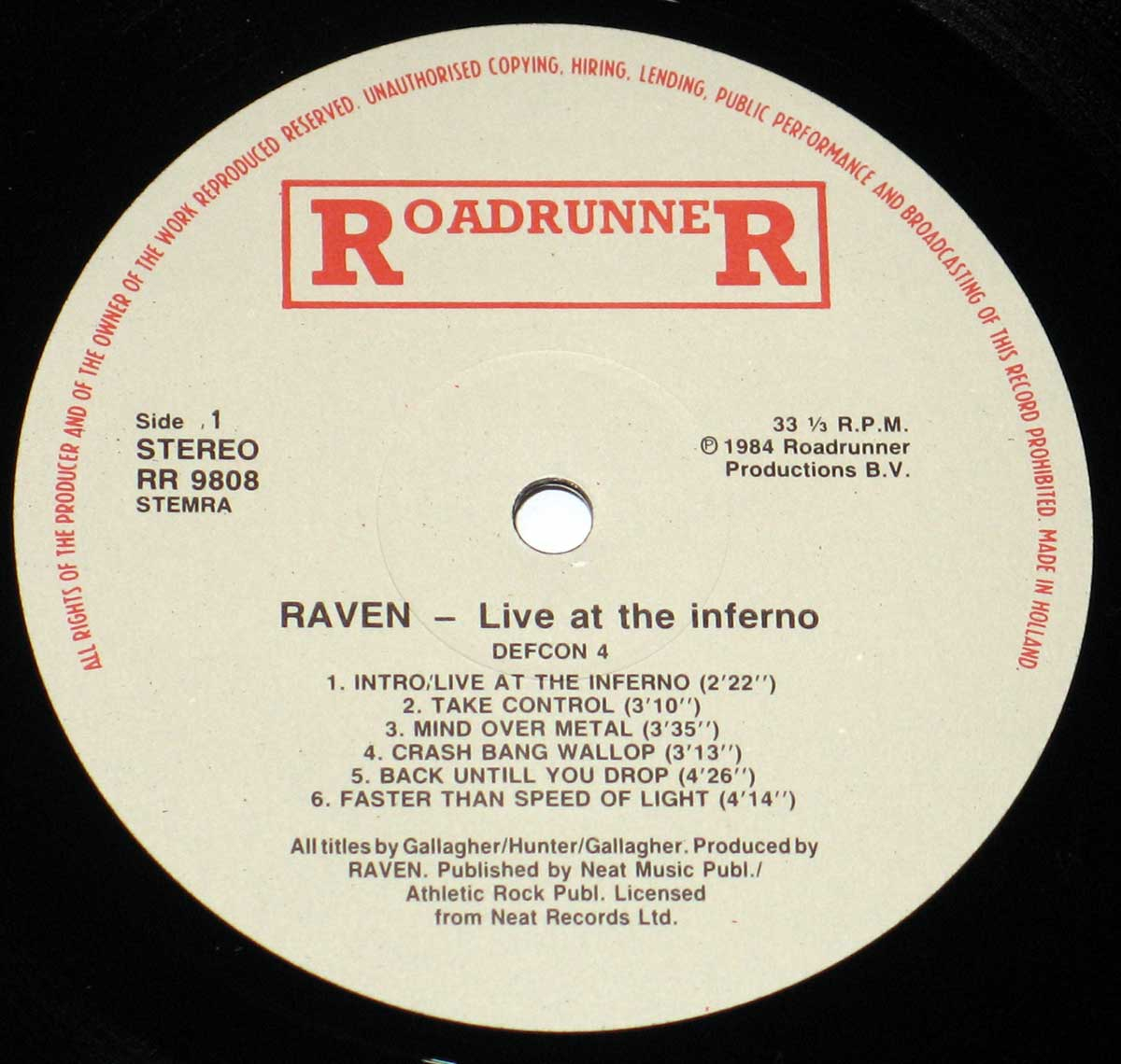Enlarged High Resolution Photo of the Record's label RAVEN - Live at the Inferno https://vinyl-records.nl