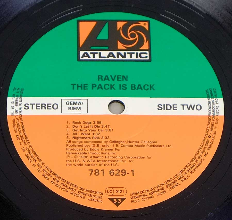 """The Pack Is Back"" Green, White and Orange Colour Record Label Details: ATLANTIC 781 629"